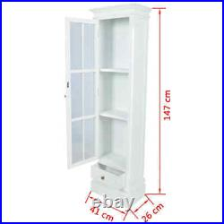 Tall Spice Bookcase Cabinet Wooden with 3 Shelves White Home Office Display Unit