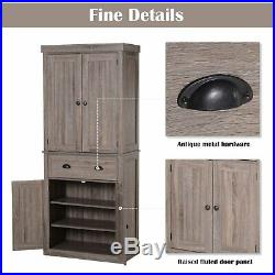 Tall Wooden Cabinet Cupboard Storage Unit Drawer Anti-Tipping Adjustable Shelves