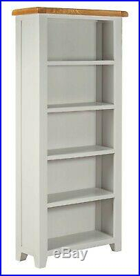 Tall Wooden Oak Bookcase Display Cabinet Grey Painted Finish