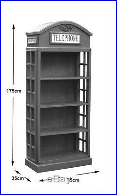 Telephone Box Bookcase with 3 Shelves