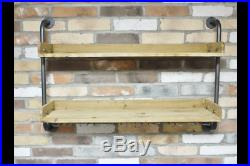 Two Wooden Shelves with Glasses Holder Hanging Beneath