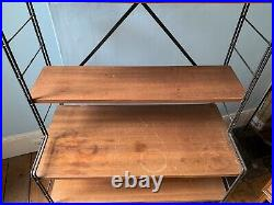 Unusual French mid century modern wooden bookcase/shelving unit (like Ladderax)