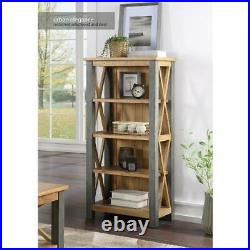 Urban Elegance Reclaimed Wooden Small Bookcase With 4 Shelves