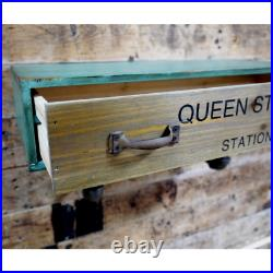 Urban Industrial Pipe Style Wooden Wall Shelf Drawer Vintage Chic Warehouse Unit