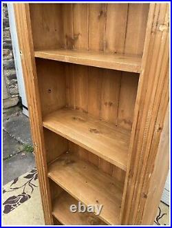 Very Tall Vintage Carved Wooden Pine Bookcase Vintage for Office / Lounge GC