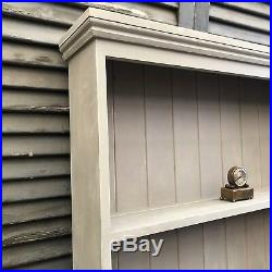 Vintage Grey Painted Wall Pine Country Farmhouse Plate Rack Shelves Display Unit