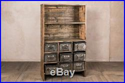 Vintage Industrial Cabinet Wooden Shelving Unit With Metal Drawers