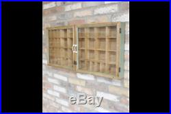 Vintage Rustic Wall Unit Glass Fronted Display Cabinet Storage Shelf H43cm W90cm