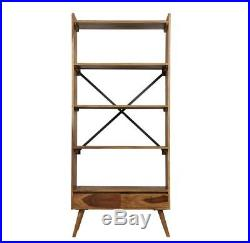 Vintage Tall Bookcase 4 Shelves Display Storage Unit Furniture Rustic Wooden