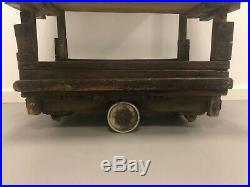 Vintage Wooden Industrial Wheeled Trolley Tiered Shelf Unit Plant Stand