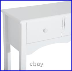 White Console Table 3 Storage Drawers Open Shelf Wooden Display Unit Room Hall