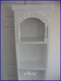 White Tall Bookcase Storage Shelves Shelving Unit Hand Painted Solid Pine Wooden