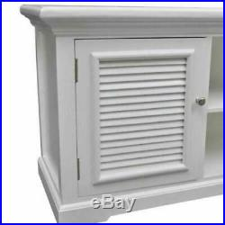 White Wooden TV Cabinet Stand Unit Shelf Entertainment Screen Large Storage New