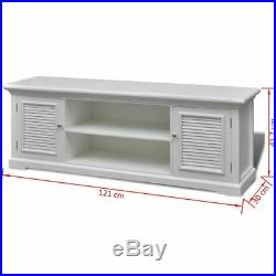 White Wooden TV Cabinet Unit Stand with Storage Shelves Side Board Entertainment