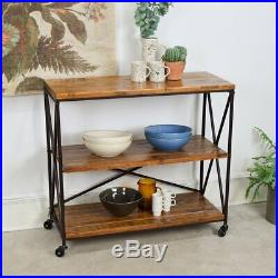 Wide 3 Tier Shelving Unit With Wheels Wooden Shelves Metal Frame Storage Stand