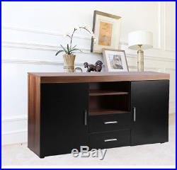 Wood TV Stand Sideboard TV Unit Cabinet With Drawers Shelf Glossy Black Walnut