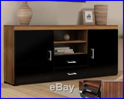 Wood TV Stand Sideboard TV Unit Cabinet With Drawers Shelf Glossy Black Walnut T