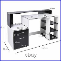 Wooden Computer Desk PC MODERN HOMCOM OFFICE with Storage Shelves ONE UNIT