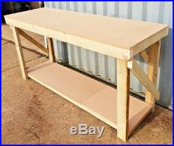 Wooden Garage Workbench and Racking Unit 4 Tier MDF Top Industrial Table
