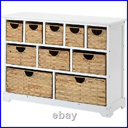 Wooden Storage Unit With Wicker Basket 10 Drawers Hallway Bathroom Shelving LY