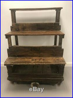 Wooden Vintage Industrial Wheeled Trolley Tiered House Plant Stand Shelf Unit