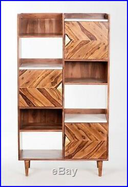 Wooden shelving unit with marble shelves and brass handles
